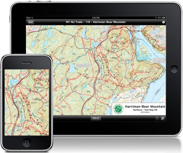 Trail Conference maps can be used on your mobile Apple devices