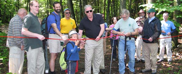 Wawarsing Town Supervisor Scott Carlsen joins with state and Trail Conference officers to open the new Mine Hole Trail on June 2, 2012.