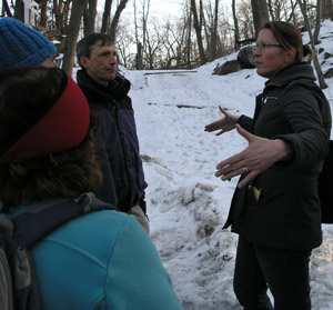 Christina Taylor (right), Executive Director of Friends of Van Cortlandt Park, led Trail Conference members on a hike in the park. The Trail Conference has worked with FVCP on trail improvements in the park.