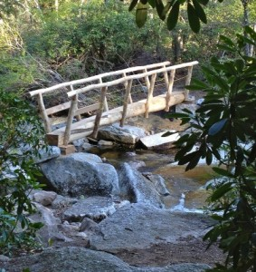 The Blueberry Run Trail bridge, almost completed as of this photo, is now open for hikers at Minnewaska State Park Preserve in New Paltz, NY.