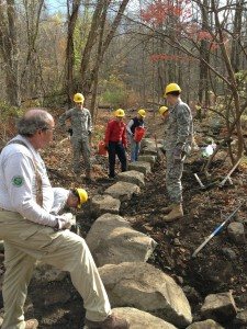 Volunteers, including West Point cadets, rebuilt a washed-out section of trail on Wildcat Mountain the last weekend in October.