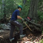 Trail volunteer at work