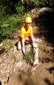 adding leaves to naturalize a new trail