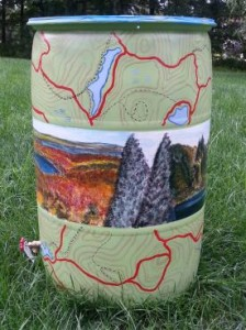 Rain barrel with Trail Conference theme