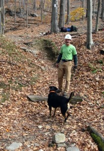 Dillon (Crew Dog) and Chris (Crew Chief) inspect the eroded trail – Photo by Bob Fuller, LDTC Member