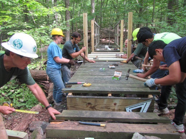 Bridge reconstruction on the trail