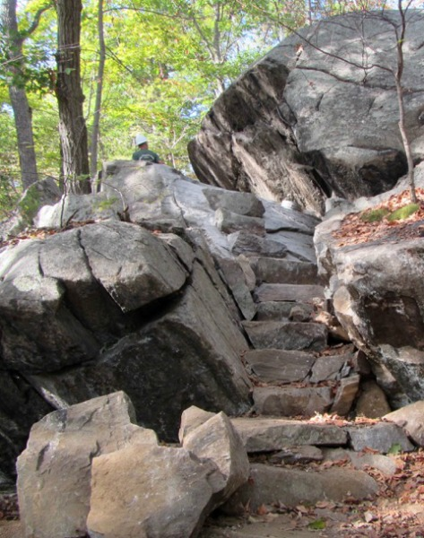 Steps pinned to the rock face