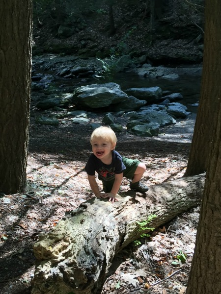 Hank's son, Knox, loves exploring the outdoors.