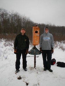 One of the duck boxes Zack constructed. (Photo contributed by Zachary Kunow)