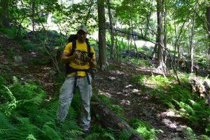 Highlands Crew Leader Victor Fernandez logs a trail feature using the Trimble unit.