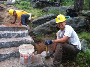 Volunteer Eric works on his first set of stairs at Bear Mountain.
