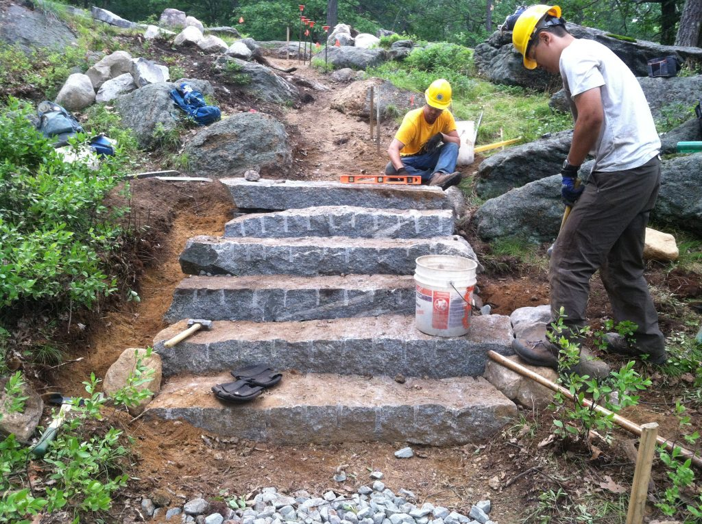 Volunteers with the Megalithic Crew helped install 11 stairs in just two days on Bear Mountain.
