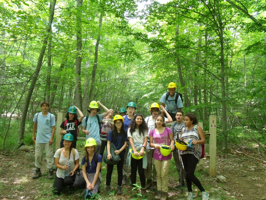 Kids from Nature Place Day Camp joined the Palisades Crew in building trail in Sterling Forest.
